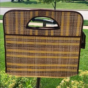 Vintage brown and yellow wicker large tote purse